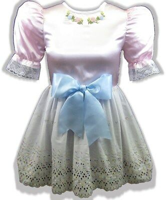 "36"" Pink Satin Rainbow Eyelet Bow Adult Little Girl Baby Sissy Dress LEANNE"