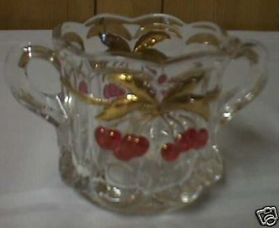 Cherry Cable Handled Sugar - Crystal With Red Cherries