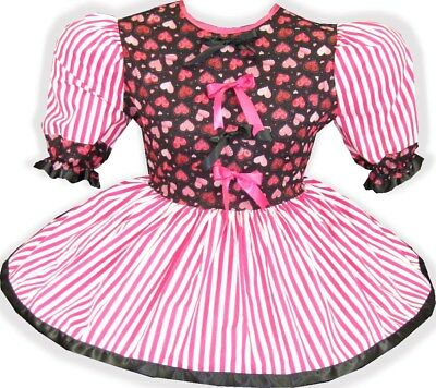 "48"" PINK HEARTS Satin Bows Adult Little Girl Baby Sissy Dress LEANNE"