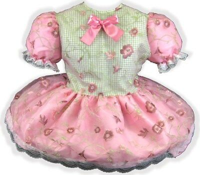 "47"" Pink Organza Taffeta Flowers Adult Little Girl Baby Sissy Dress LEANNE"