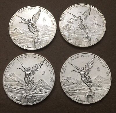 Four Different Mexico Silver Libertad 1oz UNC Silver Coins
