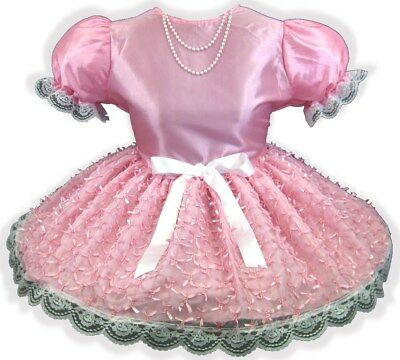 "47"" Pink Taffeta Bows Beads Adult Little Girl Baby Sissy Dress LEANNE"