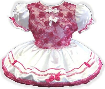 "47"" WHITE SATIN Hot Pink BOWS Adult Little Girl Baby Sissy Dress LEANNE"