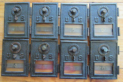 (8) Early Copper Post Office P.O. Door Mail Box Postal Antique-US w/ Glass
