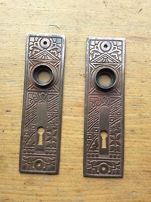 Antique Victorian Eastlake Brass Door Knob Plate FREE SHIPPING