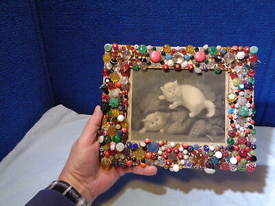 Antique *folk Art* Button Picture Frame With Kitty Cat Print