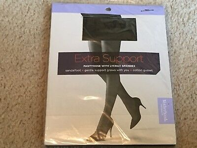 New Sealed Motherhood Maternity Extra Support Pantyhose w/Lycra Spandex Black M