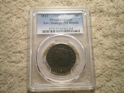 1813 Classic Head Large Cent Vf Details Pcgs/ Enviornmental Damage