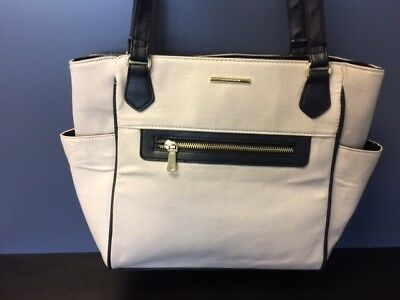 Jaclyn Smith Women's Tan with Black Trim Canvas Tote Bag NWT