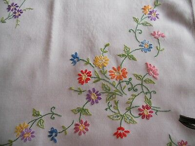 """Vintage cream linen TABLECLOTH 43"""" x 40"""" hand embroidered with pretty floral mot"""