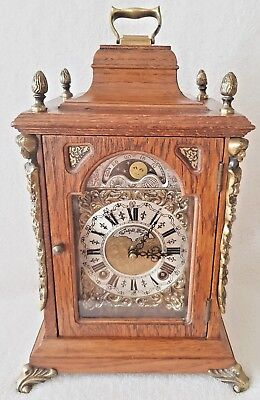 Warmink Clock Vintage Dutch Shelf Mantel Oak Wood 8 Day Night Switch Moonphase