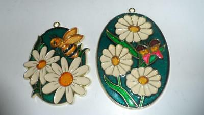 2 lot flower Stained Glass Sunflower butterfly bee Sun-Catcher Window ornament