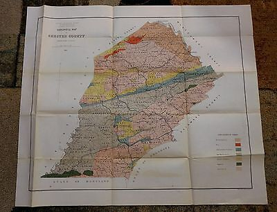 1880 Geological Map of CHESTER COUNTY Pennsylvania Rare Antique Litho Map