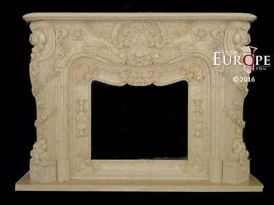 Beautiful Hand Carved Solid  Marble Estate Fireplace Mantel -Bcmf36