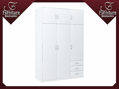 Large 3 Door 3 Drawer Wardrobe with 3 Cupboards - Victoria - SZ03 - White