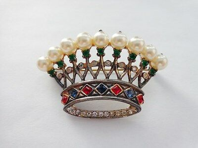 Old Trifari Alfred Philippe Sterling Silver Figural Crown Pearl Rhinestone Pin