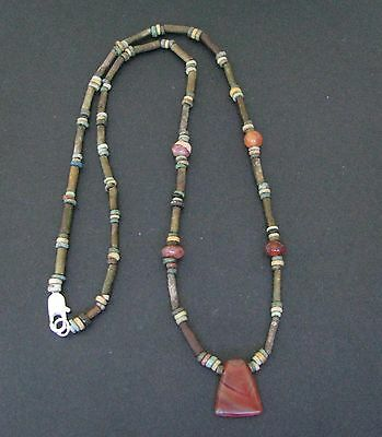 NILE  Ancient Egyptian Faience Amulet Carnelian Mummy Bead Necklace ca 600 BC