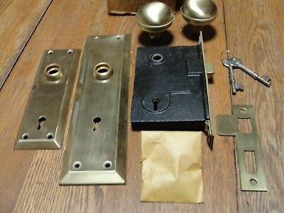 Vintage Brass Entry Door Lock Set Skeleton Bit Key Steel Mortise Complete in Box