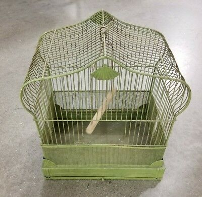 "Vintage Metal Wire Bird Cage Art Deco Style ""crown"" Chippy"