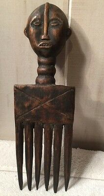 Africa Wood Hair Pick 2 Different Faces Antique
