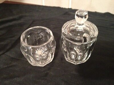 Heisey Glass Colonial Priscilla Panel Mustard 2 Jars With 1 Lid Letter H Diamond