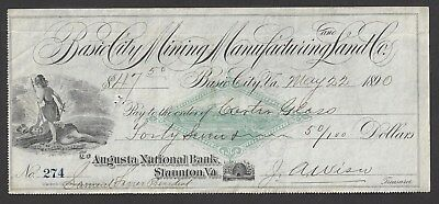 1890 Virginia Bank Draft Signed By Carter Glass