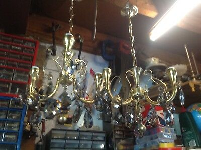 Pair Of Brass And Glass Chandeliers