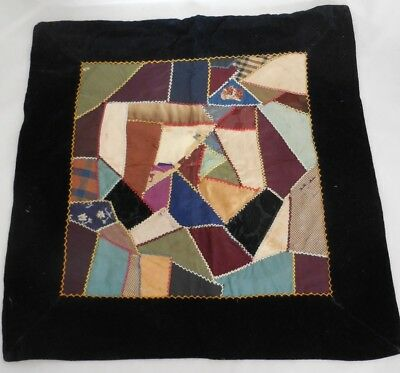 Antique Crazy Quilt Pillow Top 20x20 Black Velvet Trim Feather Stitching Cheetah