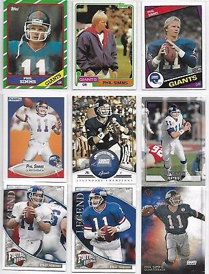 9 Card Lot Of New York Giants Phil Simms Football Cards