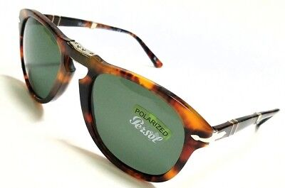 Authentic PERSOL Folding PO0714 108/58 Caffe/Green Polarized 54mm Sunglasses