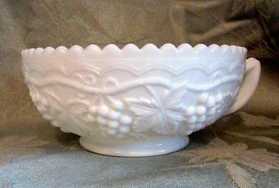 "Vintage Imperial White Milk Glass 5-1/2"" Nappy Bowl Handled Grape Pattern"