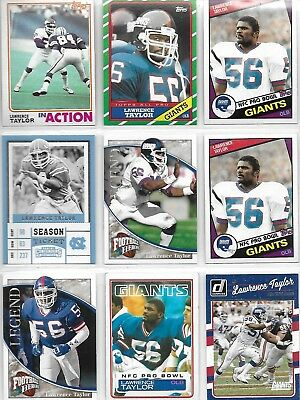 9 Card Lot Of New York Giants Lawrence Taylor Football Cards
