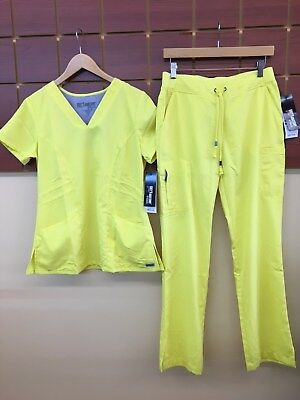 NEW Grey's Anatomy Yellow Solid Scrubs Set With Small Top & Small Pants NWT