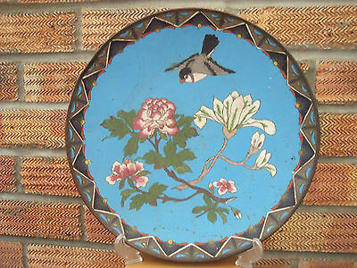 Antique Japanese Cloisonne Charger Plate with Bird & Blossom 1880-1900 ~ 12""