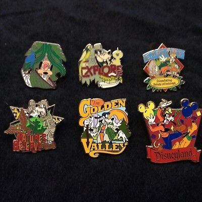 Lot of Disney Collector Pins 6 Different Park Trader Mickey Goofy Event Nicer