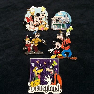 Lot of Disney Collector Pins 5 Different Park Trader Mickey Goofy Pluto Nicer