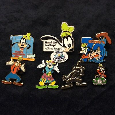 Lot of Disney Collector Pins 7 Different Goofy Only Themed Lanyard Hidden Set