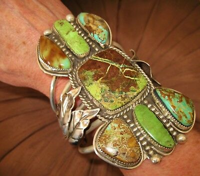 NAVAJO DIFFERENT BRACELET - CHAVEZ - Green Turquoise, Sterling Silver, 152 grams
