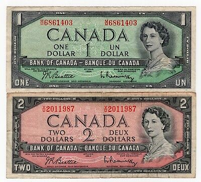 Lot Of 2 1954 Bank Of Canada One $1 And Two $2 Dollar Bank Notes Nice Bills