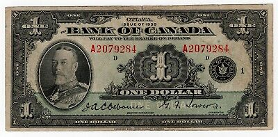 1935 Bank Of Canada One 1 Dollar Bank Note A 2079284 Nice Bill