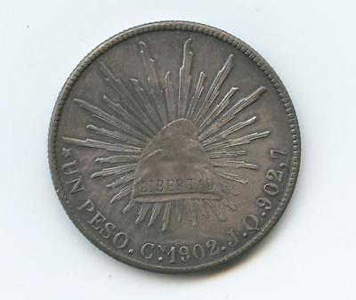 1902 Mexican Un Peso Silver Coin - Exceptional Toning - Almost Mint State