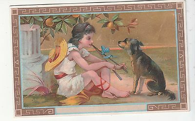 Grecian Girl w Black Dog Sticks Bow Hat Gold No Advertising Vict Card c 1880s