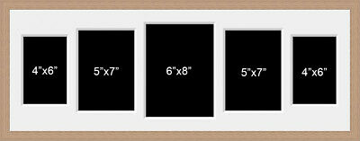 Multi Aperture Photo Picture Frame to hold 5 Mixed Size Photos In an oak colour