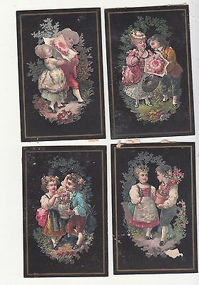 4 Black Cards Featuring Couples Flowers No Advertising Vict Card c 1880s