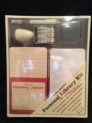 Knock Knocks Personal Library Kit ~Pockets Check Out Cards Date Stamp Pad Pencil