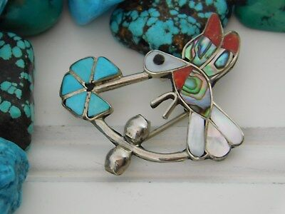 Vtg Old Pawn ZUNI Sterling Silver HUMMINGBIRD Pendant Brooch TURQUOISE Red Coral