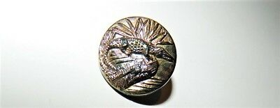 """Exciting RARE Antique Black Glass Carnival Luster ALLIGATOR Button 3/4"""""""