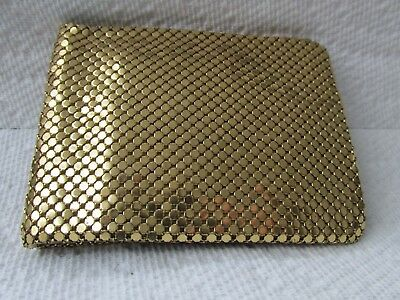 Vintage Whiting & Davis Gold Mesh Bifold Wallet Women's Bling Change Purse