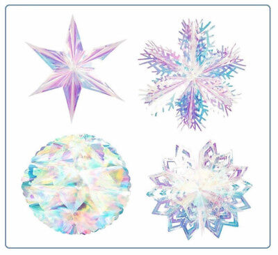 Iridescent Holographic Christmas Hanging Party Home Wall Ceiling Foil Decoration