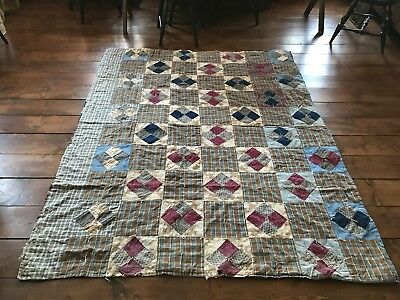 Old Antique Handmade Quilt Textile AAFA Blue Brown Calico Homespun Fabric